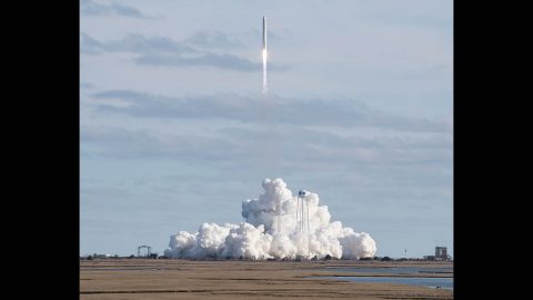 A Northrop Grumman Cygnus resupply spacecraft launched on an Antares 230+ rocket from the Virginia Mid-Atlantic Regional Spaceport's Pad 0A at Wallops at 2:21pm CT Saturday, Feb. 15, 2020. (NASA)