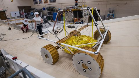 NASA model of the Volatiles Investigating Polar Exploration Rover. (NASA / Bridget Caswell, Alcyon Technical Services)
