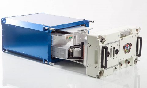 The Multi-use Variable-g Platform (MVP) used for the MVP Cell-03 experiment, shown with the MVP door removed and two carousels inside. (Techshot Inc.)