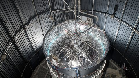 "SHIIVER is 13-foot diameter test tank built by NASA to evaluate technologies aimed at reducing the evaporation or ""boiloff"" losses in large cryogenic storage tanks for human exploration missions. (NASA)"