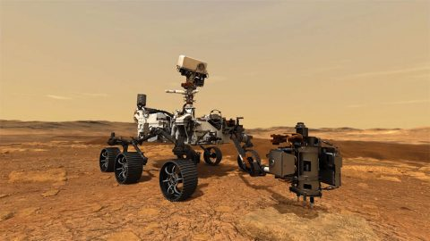 This artist's concept depicts NASA's Mars 2020 rover exploring and taking a core sample on the Red Planet. The mission will investigate the geology of Jezero Crater. It will acquire and store samples of the most promising rocks and soils that it encounters, setting them on the surface of Mars for a future mission to bring back samples to Earth for deeper study. (NASA/JPL-Caltech)
