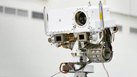 "Mars 2020's mast, or ""head,"" includes a laser instrument called SuperCam that can vaporize rock material and study the resulting plasma. (NASA/JPL-Caltech)"