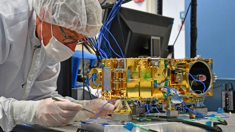 The Mast Unit for Mars 2020's SuperCam, shown being tested here, will use a laser to vaporize and study rock material on the Red Planet's surface. (LANL)