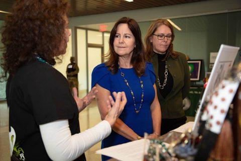 During a Feb. 28 visit to Intrepid Spirit Center – Fort Campbell, Mrs. Karen Pence, Second Lady of the United States, meets with Art Therapist Harriet Ellner, left, to discuss the healing powers of art therapy. Mrs. Leah Esper, wife of Secretary of Defense Dr. Mark T. Esper, accompanied Mrs. Pence on her visit to Fort Campbell. (U.S. Army Photo by David E. Gillespie)