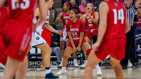 Austin Peay State University Women's Basketball fights Belmont to the end in OT loss at the OVC Tournament Wednesday night. (APSU Sports Information)