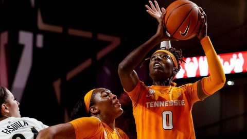Tennessee Women's Basketball junior #00 Rennia Davis connects for 22 points and pulled down 10 rebounds in win over Auburn, Sunday. (UT Athletics)