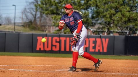 Austin Peay State University Softball sophomore pitcher #20 Harley Mullins gives solid performance against UMass Lowell, Saturday. (APSU Sports Information)