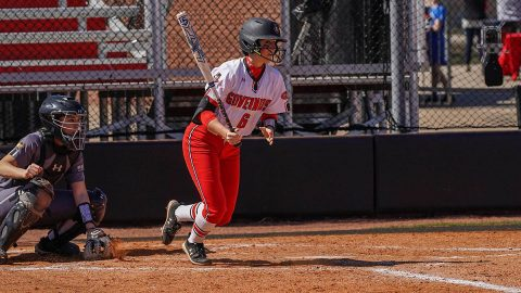 Austin Peay State University junior #6 Bailey Shorter hit a single in the game against Purdue Fort Wayne to become th 36th player in APSU history to reach 100 career hits. (APSU Sports Information)