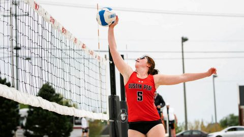 Austin Peay State University Beach Volleyball defeated Park University 5-0 and then later beat Central Arkansas 3-2 at the UCA each Tournament, Saturday. (APSU Sports Information)