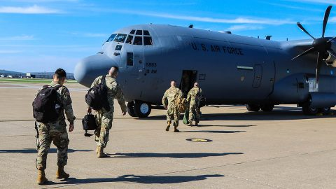 Soldiers assigned to the 531st Hospital Center and 586th Field Hospital load their gear and board a military transport aircraft headed for New York state, March 25th. These Soldiers constitute an advance party of Army medical professionals deploying to New York, ahead of the rest of the unit, in support of civil authorities and our nation's response to the COVID-19 pandemic. (Sgt. Fletcher King, 101st Airborne Division)