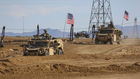 Green Berets with the 5th Special Forces Group (Airborne), accelerate their Ground Mobility Vehicle 1.1s as they start their first lap in the Mint 400, March 06, 2020, in Primm, Nevada. (Staff Sgt. Justin Moeller, 5th SFG(A) Public Affairs)