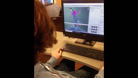 Clarksville Academy students worked on Unity C# during their custom camp. (APSU)