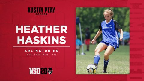 Austin Peay State University soccer coach Naomi Kolarova signs Heather Haskins from Arlington Tennessee. (APSU Sports Information)