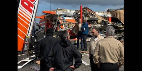 Tennessee Governor Bill Lee surveys recent tornado damage.