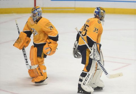 Nashville Predators goalie Juuse Saros replaces Pekka Rinne as the Edmonton Oilers scored 5 goals within the first 10 minutes of the final period as the Oilers defeated Nashville 8-3. (Michael Strasinger)