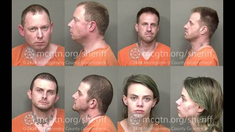 Montgomery County Sheriff's Office have arrested (Top L to R) Derek Eugene Summers, Sidney Alexander Falkner III, Michael Gene Hill and Brianna Marie Klein for Theft of Property.