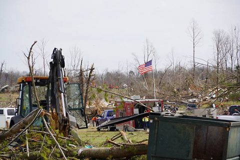 A photo of some of the damage the tornadoes did.