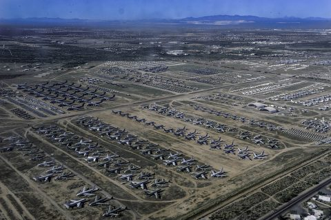 "An aerial view of Davis-Mothan Air Force Base in Tuscon, Arizona shows ""The Boneyard"" where thousands of aircraft are stored or have retired to. Several parts of NASA's X-59 QueSST airplane came from donor aircraft here. (U.S. Navy)"