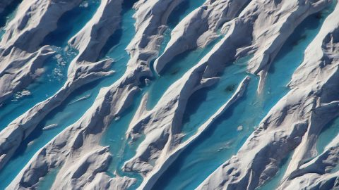 Crevasses in southern Greenland are visible from a 2017 Operation IceBridge airborne survey of the region. (NASA/Operation IceBridge)