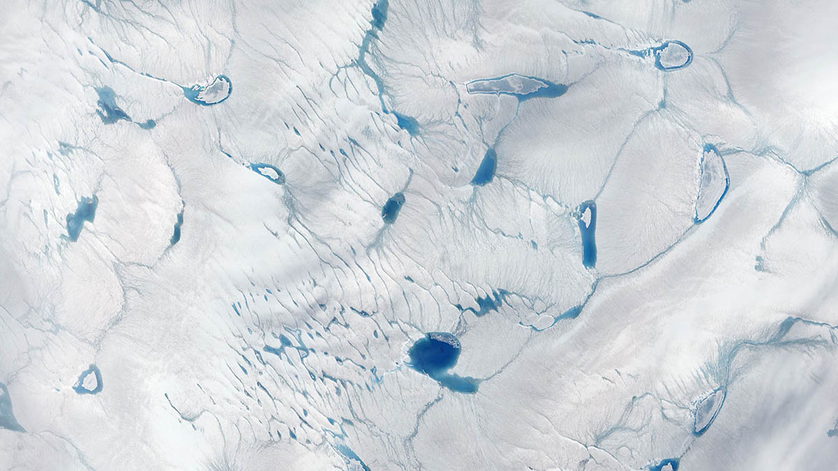 Pools of meltwater in southwestern Greenland's ice sheet as observed by a NASA satellite in 2016. (NASA Goddard Space Flight Center)