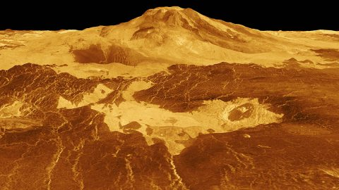 Maat Mons is displayed in this computer-generated, three-dimensional perspective of the surface of Venus. The viewpoint is located 634 kilometers (393 miles) north of Maat Mons at an elevation of 3 kilometers (2 miles) above the terrain. Lava flows extend for hundreds of kilometers across the fractured plains shown in the foreground to the base of Maat Mons. (NASA/JPL)