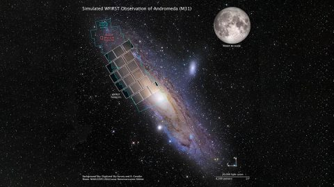 This graphic shows a simulation of a WFIRST observation of M31, also known as the Andromeda galaxy. Hubble used more than 650 hours to image areas outlined in blue. Using WFIRST, covering the entire galaxy would take only three hours. (DSS, R. Gendle, NASA, GSFC, ASU, STScI, B. F. Williams)