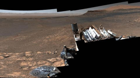 Along with an almost 1.8-billion-pixel panorama that doesn't feature the rover, NASA's Curiosity captured a 650-million-pixel panorama that features the rover itself. (NASA/JPL-Caltech/MSSS)