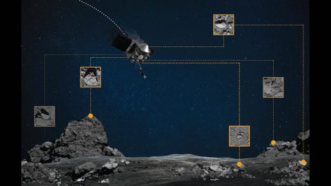 During the sample collection event, Natural Feature Tracking (NFT) will guide NASA's OSIRIS-REx spacecraft to asteroid Bennu's surface. The spacecraft takes real-time images of the asteroid's surface features as it descends, and then compares these images with an onboard image catalog. The spacecraft then uses these geographical markers to orient itself and accurately target the touchdown site. (NASA/Goddard/University of Arizona)