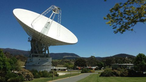 DSS43 is a 70-meter-wide (230-feet-wide) radio antenna at the Deep Space Network's Canberra facility in Australia. It is the only antenna that can send commands to the Voyager 2 spacecraft. (NASA/Canberra Deep Space Communication Complex)