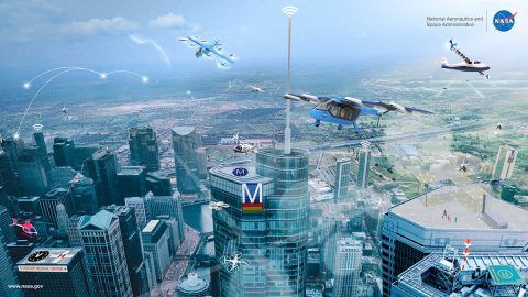 Advanced Air Mobility, with its many vehicle concepts and potential uses in both local and intraregional applications, is shown in this illustration. (NASA)