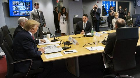 President Donald Trump leads a teleconference with Governors at FEMA Headquarters to discuss the Coronavirus response. (White House)