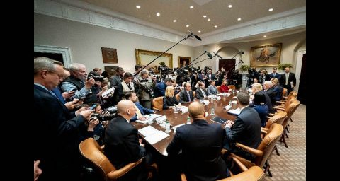 President Donald Trump and Vice President Mike Pence participate in a Coronavirus briefing with health insurers. (White House Photo)