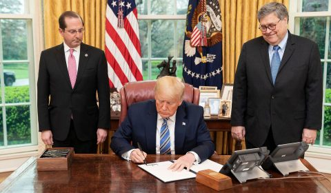 President Trump, joined by Health and Human Services Secretary Alex Azar and Attorney General William Barr, signs an Executive Order to Prevent Hoarding and Price Gouging