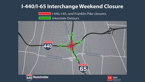 TDOT I-440/I-65 Interchange Closure Scheduled set Weekend of March 20th Map