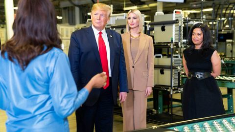 U.S. President Donald Trump tours Apple facility in Austin with daughter Ivanka Trump. (White House)