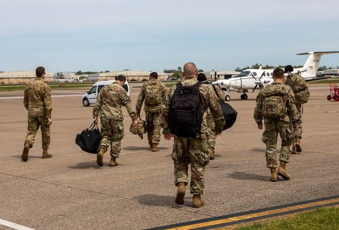 The 101st Airborne Division (Air Assault) and Fort Campbell deployed about 10 Soldiers Wednesday, April 22, to aid in the ongoing COVID-19 Coronavirus relief effort in the northeast. (Sgt. Fletcher King, 101st Airborne Division)