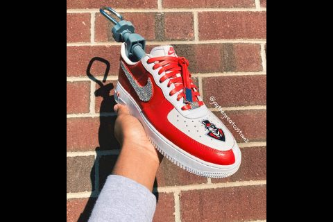 Hand-painted Air Force 1's emblazoned with the Govs logo. (APSU)