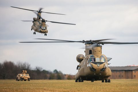 "B Company ""Pachyderms"" will be attached to Task Force Ivy Eagle of 4th Infantry Division Combat Aviation Brigade, providing additional CH-47F Chinook aircraft and aircrews. 4th CAB will replace the 10th Mountain Division Combat Aviation Brigade as part of a regular rotation of forces to support the United States' commitment to Operation Freedom Sentinel. (Capt. Adam OReilly, 101st Airborne Division)"