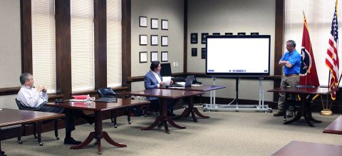 Clarksville Mayor Joe Pitts, Wes Golden, Clarksville Health & Safety Manager; and Montgomery County Mayor Jim Durrett discuss reopening planning during a work session at the Montgomery County Courthouse.