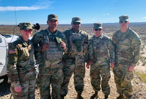 Lt. Col. Tony Rogers, second from right, joined members of the 101st Airborne Division (Air Assault) earlier this month for a joint operational area circulation to accomplish mission analysis of current and future contract requirements for a southern border mission. Rogers is the commander of the 922nd Contracting Battalion at Fort Campbell, Kentucky. (Courtesy Photo)