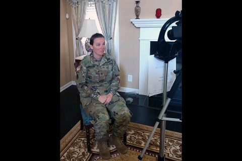 Sgt. 1st Class Emma Anderson, Ready and Resilient program manager, shoots a video from her home about how to keep the COVID-19 pandemic in perspective for the Fort Campbell Ready and Resilient Facebook page. (Contributed photo)