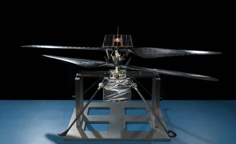 The technology behind the Mars Helicopter's 4-foot-wide (1.2-meter-wide) rotor blades is also used in the construction of a rugged drone that helps farmers survey their land. (NASA/JPL-Caltech)
