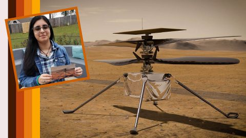 "Vaneeza Rupani (inset), a junior at Tuscaloosa County High School in Northport, Alabama, came up with the name Ingenuity for NASA's Mars Helicopter (an artist's impression of which is seen here) and the motivation behind it during NASA's ""Name the Rover"" essay contest. (NASA/JPL-Caltech/NIA/Rupani Family)"