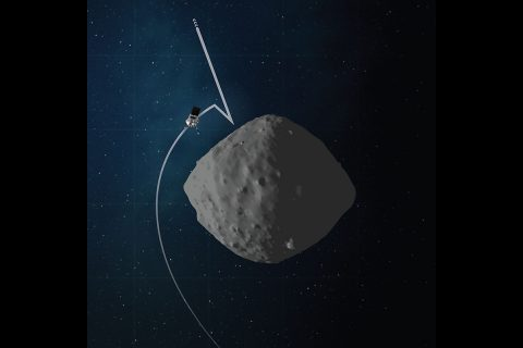 This artist's concept shows the trajectory and configuration of NASA's OSIRIS-REx spacecraft during Checkpoint rehearsal, which is the first time the mission will practice the initial steps for collecting a sample from asteroid Bennu. (NASA/Goddard/University of Arizona)
