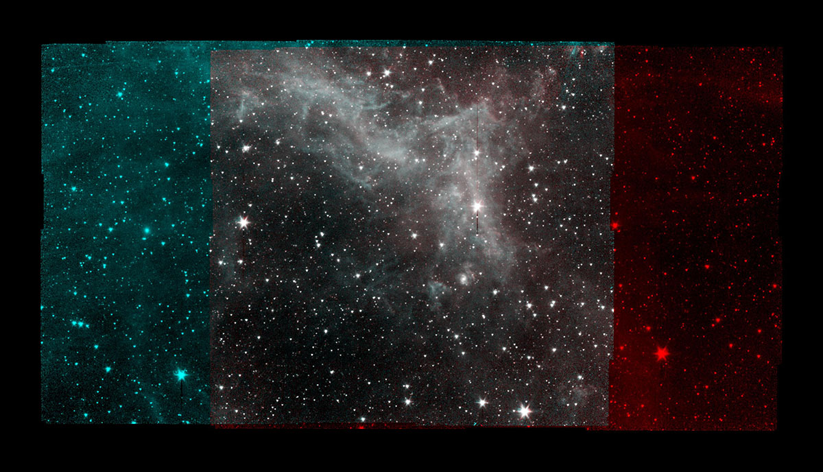 NASA's Spitzer Space Telescope took this image of the California Nebula on Jan. 25, 2020, five days before the spacecraft was decommissioned. The red and blue bands on either side of the image represent two different wavelengths of light; the gray area shows both wavelengths. (NASA/JPL-Caltech)