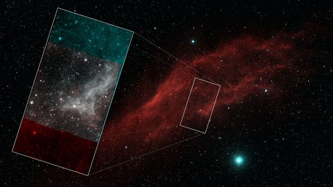 This view shows the California Nebula imaged in visible light. The inset shows a section of the nebula imaged by NASA's recently retired Spitzer Space Telescope, which studied the universe in infrared light. (NASA/JPL-Caltech/ Palomar Digitized Sky Survey)
