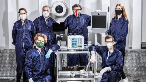 Clockwise from bottom left: Brandon Metz, Shaunessy Grant, Michael Johnson, Dave Van Buren, Michelle Easter and Patrick Degrosse are among dozens of engineers at JPL involved in creating VITAL, a ventilator prototype specially targeted to coronavirus disease patients. (NASA/JPL-Caltech)