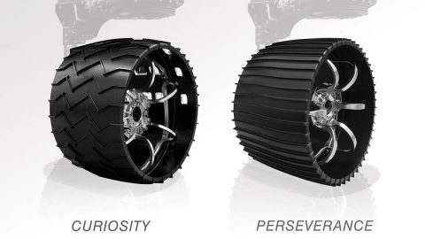 Illustrated here, the aluminum wheels of NASA's Curiosity (left) and Perseverance rovers. Slightly larger in diameter and narrower, 20.7 inches (52.6 centimeters) versus 20 inches (50.8 centimeters), Perseverance's wheels have twice as many treads, and are gently curved instead of chevron-patterned. (NASA/JPL-Caltech)
