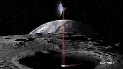 This artist's concept shows the briefcase-sized Lunar Flashlight spacecraft using its near-infrared lasers to shine light into shaded polar regions on the Moon to look for water ice. (NASA/JPL-Caltech)