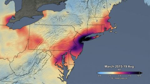 This image shows the average concentration of Air Pollution in March of 2015-19. (NASA)